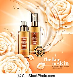 Moisturizing essence ads, hygiene product with flowing...