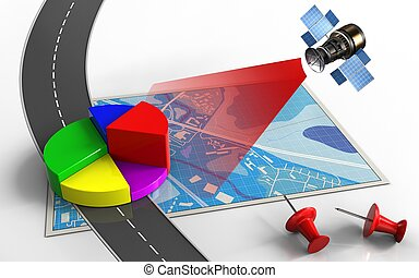 3d business data - 3d illustration of blue map with business...