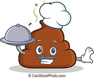 Chef with food Poop emoticon character cartoon