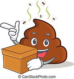 With box Poop emoticon character cartoon
