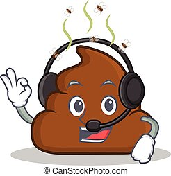 With headphone Poop emoticon character cartoon