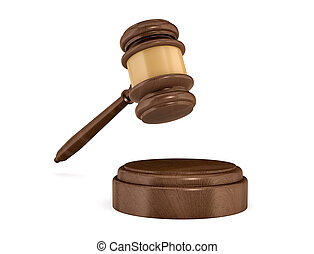 3d rendering of an isolated dark wood judge gavel and sound...