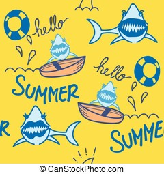 Shark Summer Seamless Pattern - Comic couple of sharks...