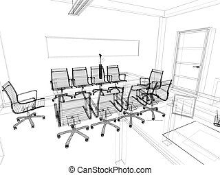 office interior - The modern interior of office 3d image
