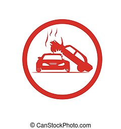 two cars accident icon