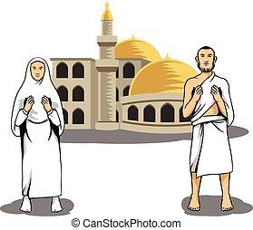 Hajj Pilgrim Praying In Front Of Mosque - Vector...
