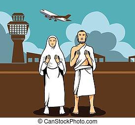 Hajj Pilgrim Praying And The Airport Background - Vector...