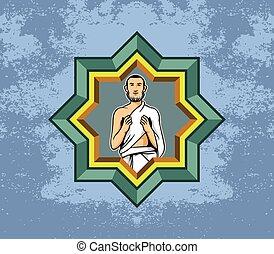 Hajj Pilgrim Men Praying And Polygon Decoration - Vector...