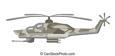 Military holicopter of camouflage color isolated...