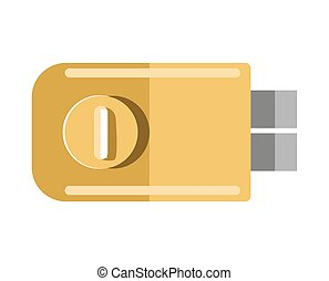 Metal door lock with round handle isolated illustration -...