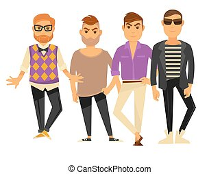 Men fashion models in different clothes styel vector flat...