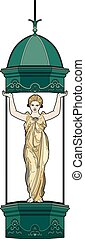 Baroque caryatid - Vector illustration of a woman in...