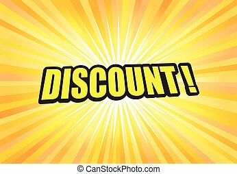 Discount sign on yellow light background