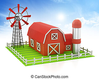 Farmhouse with windmill and silo standing on green area. 3D illustration