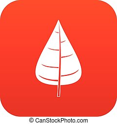 Poplar leaf icon digital red for any design isolated on...
