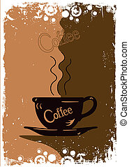 Grungy coffee background Vector - Grunge style background...