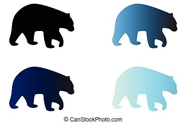 Four silhouettes of logo bears - Four silhouettes of bears...