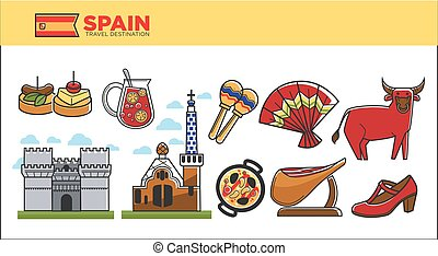 Spain travel destination promotional poster with country...