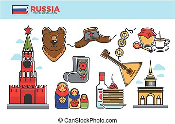 Russia travel destination promotional poster with cultural...
