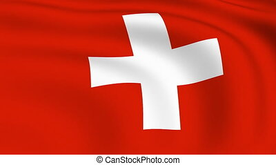 Flying Flag of SWITZERLAND | LOOPED |