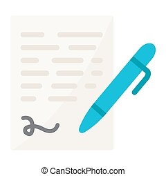 Pen signing flat icon, business contract signature