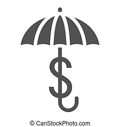 Business Insurance solid icon, umbrella dollar