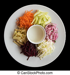 vegetables on a plate - Cutted fresh vegetables on a plate