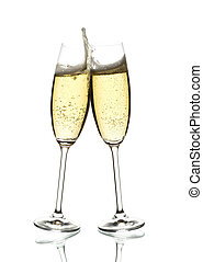 two glasses of sparkling wine clinking - two glasses of...