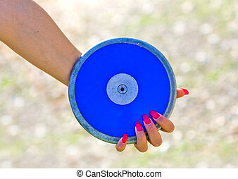 blue disc ready to be launched