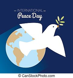 International peace day dove flying with olive branch and Earth in the background