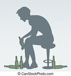 Man with the problem of alcohol