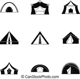 Tourist tent icon set, simple style