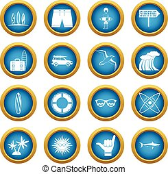 Surfing icons blue circle set