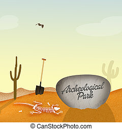 Archaeological park with fossils - illustration of...