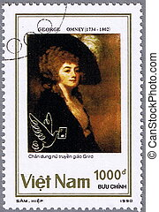 Portrait of a Woman - VIETNAM - CIRCA 1990: A stamp printed...