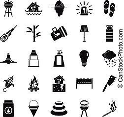 Drought icons set, simple style - Drought icons set. Simple...