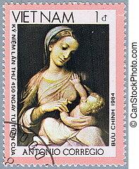 Campori Madonna - VIETNAM - CIRCA 1984: A stamp printed in...