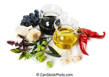 Olive oil and balsamic vinegar isolated on white background