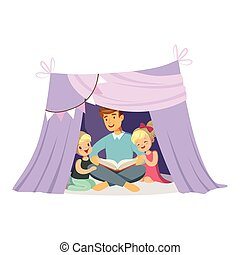 Dad reading a book to her children while sitting in a tepee...