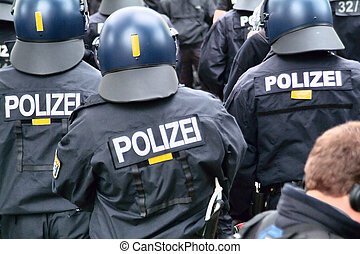 Riot police Germany - Riot police is in action on the...