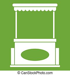 Street kiosk icon green - Street kiosk icon white isolated...