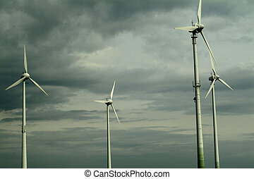 Wind turbines against cloudy sky in Germany