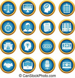 Banking icons blue circle set isolated on white for digital...