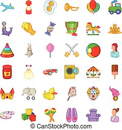 Baby toy icons set, cartoon style - Baby toy icons set....