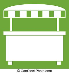 Street stall with awning icon green - Street stall with...