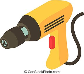 Electric drill icon, isometric 3d style