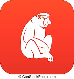 Orangutan icon digital red for any design isolated on white...