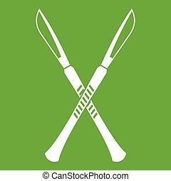 Surgeon scalpels icon green - Surgeon scalpels icon white...