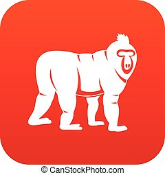 Mandrill monkey icon digital red for any design isolated on...