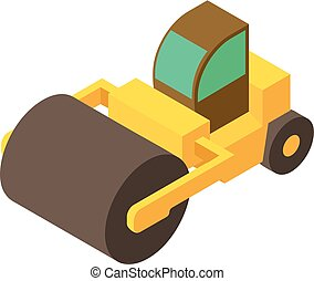 Road roller icon, isometric 3d style - Road roller icon....